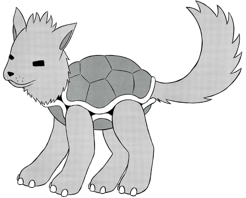 Pokémon-Zeichnung: Hunde-Schildkröte - mit Rasterfolie
