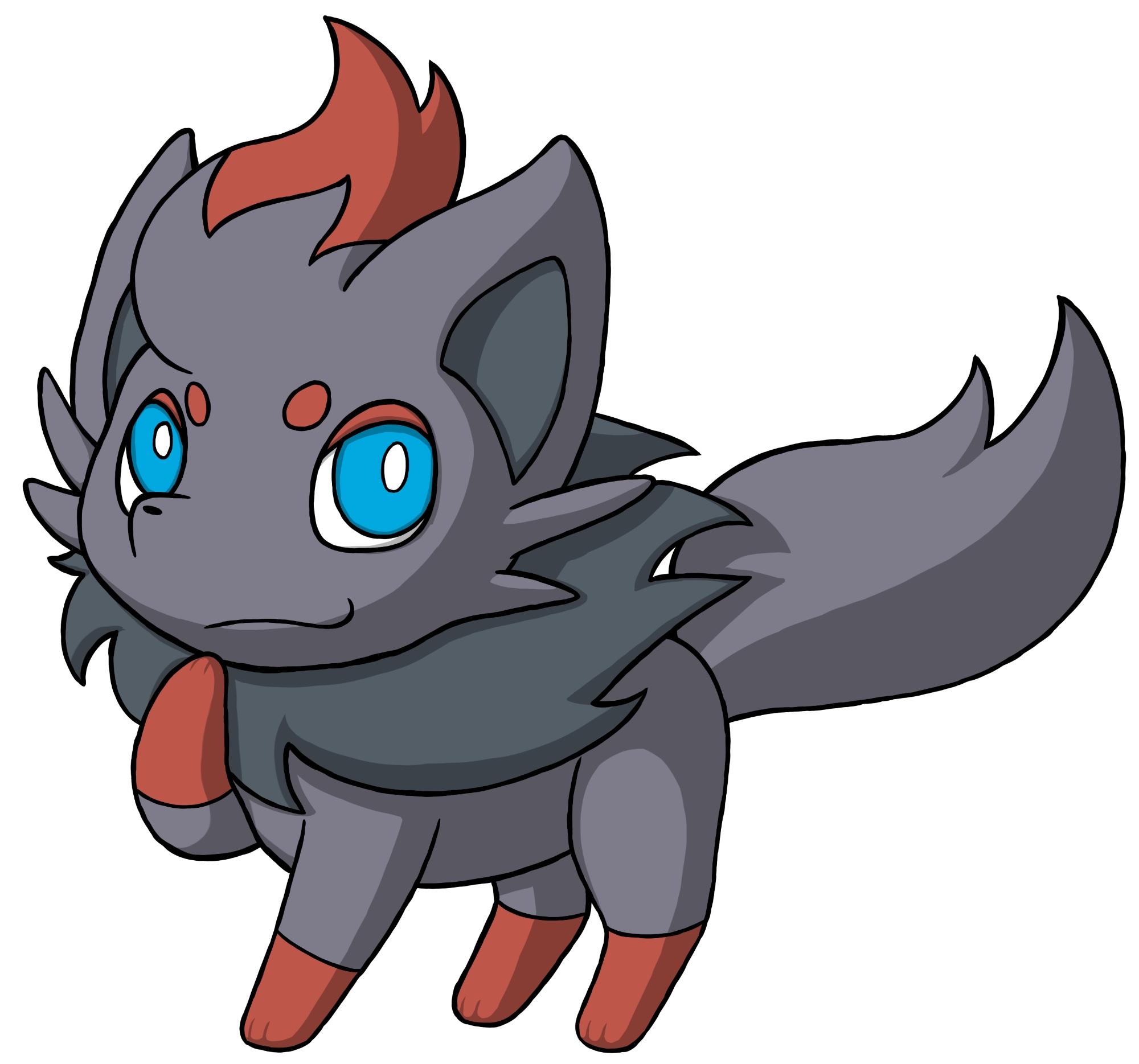 Pokémon-Zeichnung: Zorua - mit Schatten