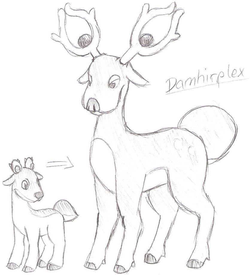 Pokémon-Zeichnung: Damhirplex & Baby