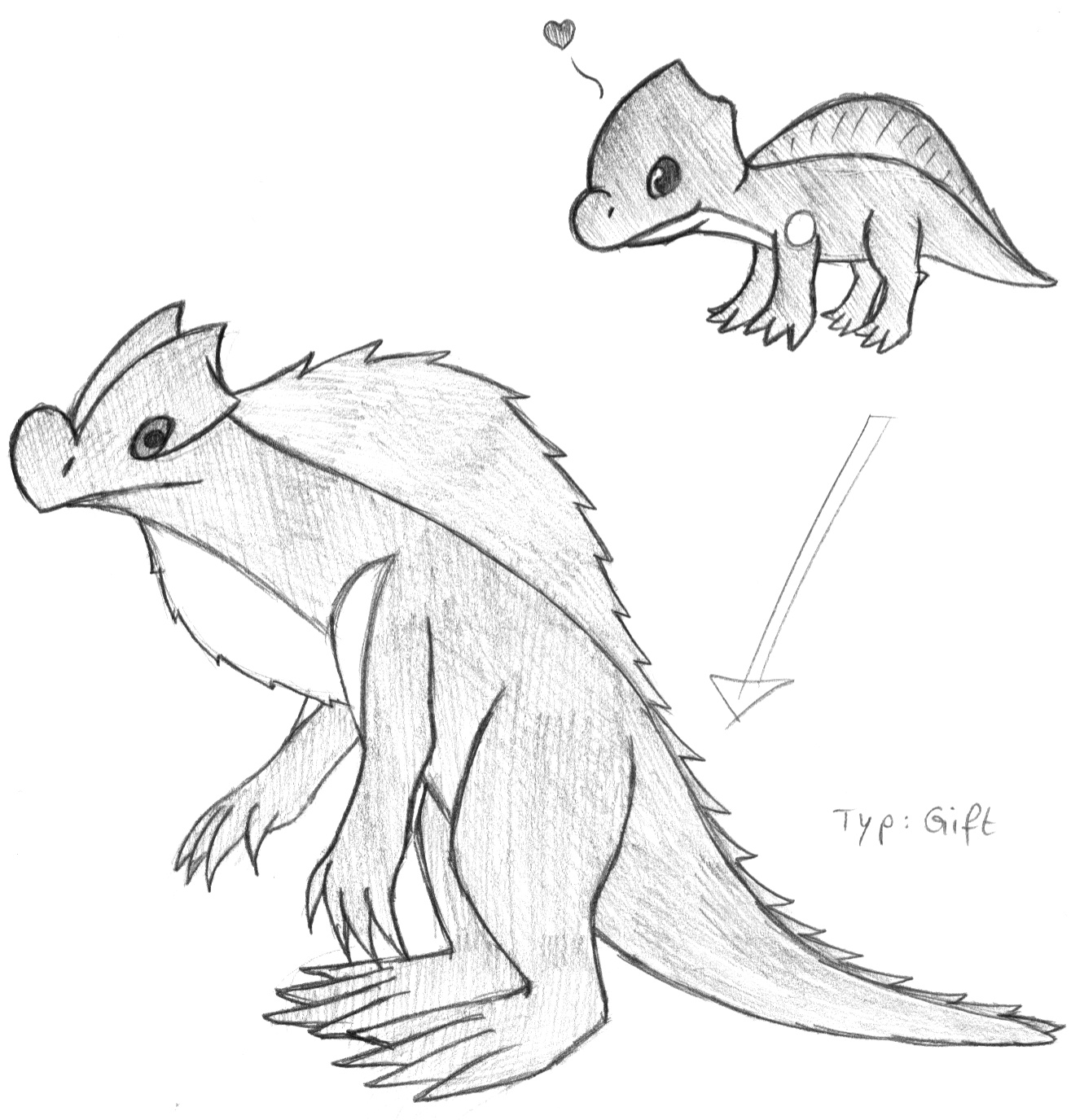 Pokémon-Zeichnung: Echsen-Pokemon
