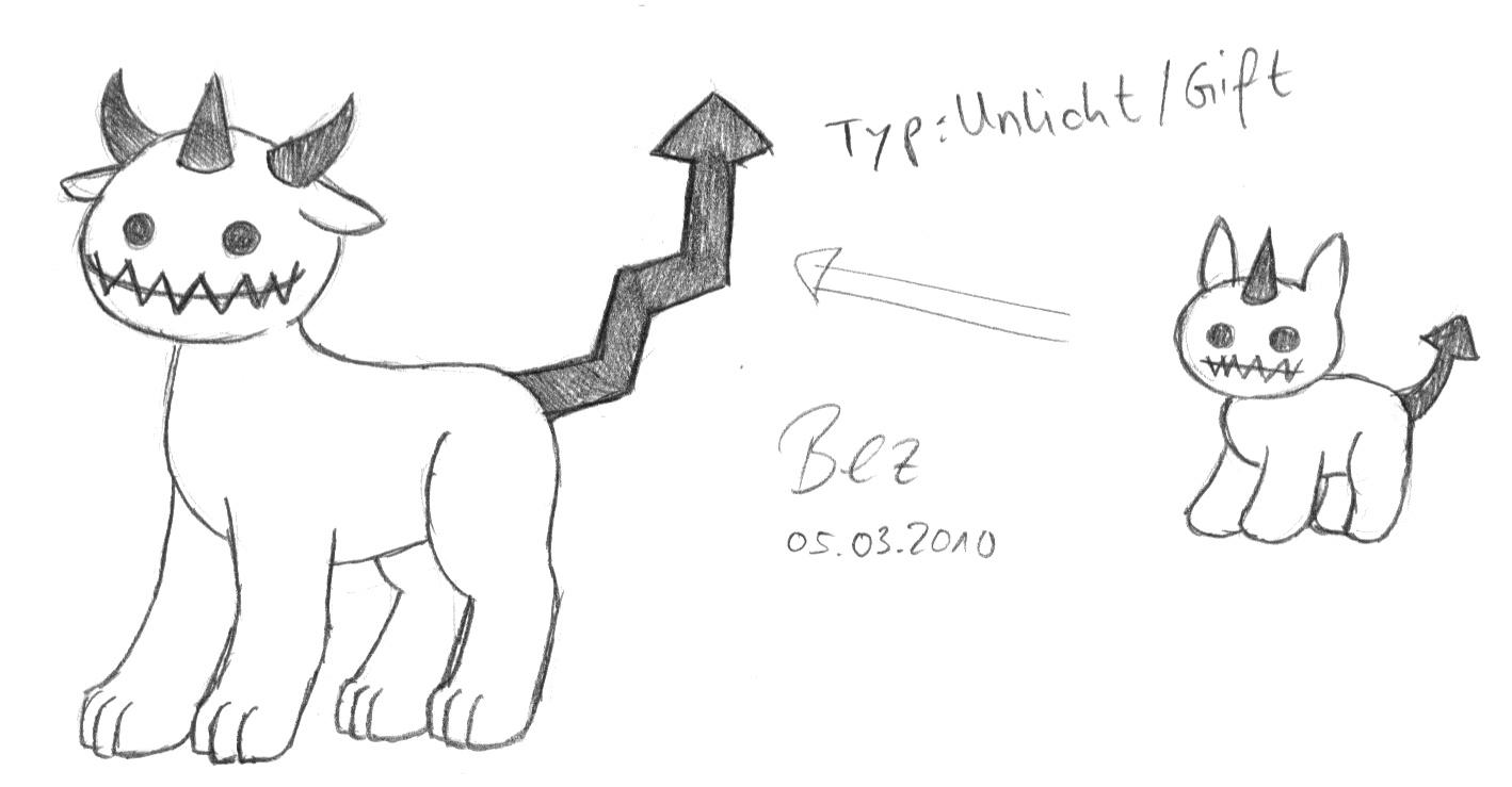 Pokémon-Zeichnung: Grinse-Teufelchen