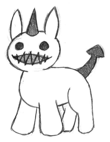 Pokémon-Zeichnung: kleines Grinseteufelchen
