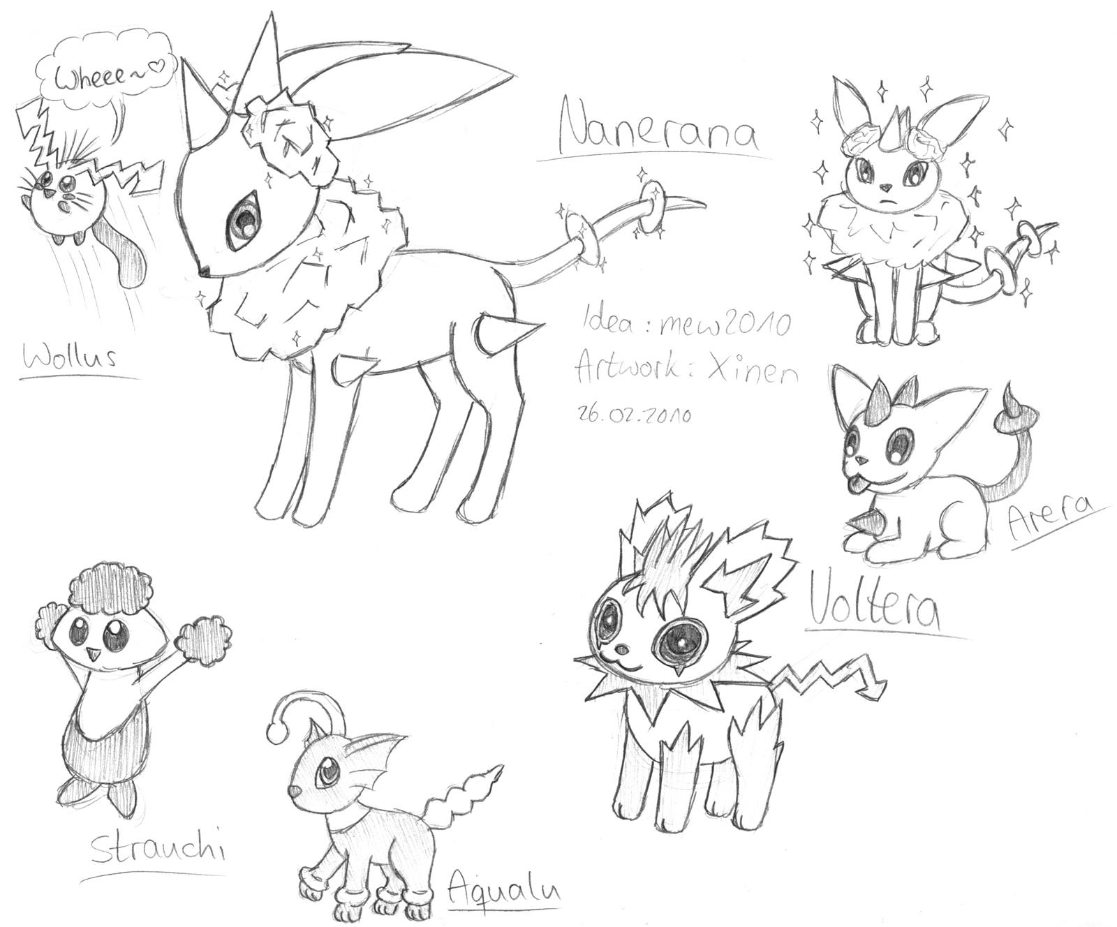 Pokémon-Zeichnung: mehrere von mew2010