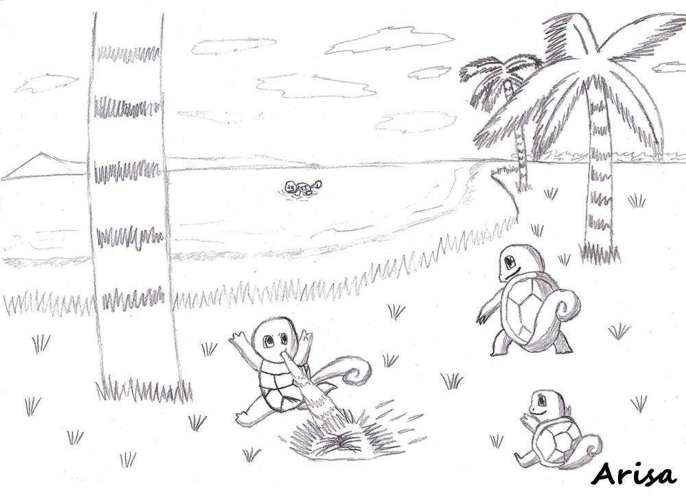Pokémon-Zeichnung: Ein Strandbild