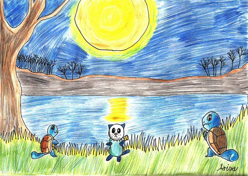 Pokémon-Zeichnung: Schiggy und Ottaro im Mondlicht