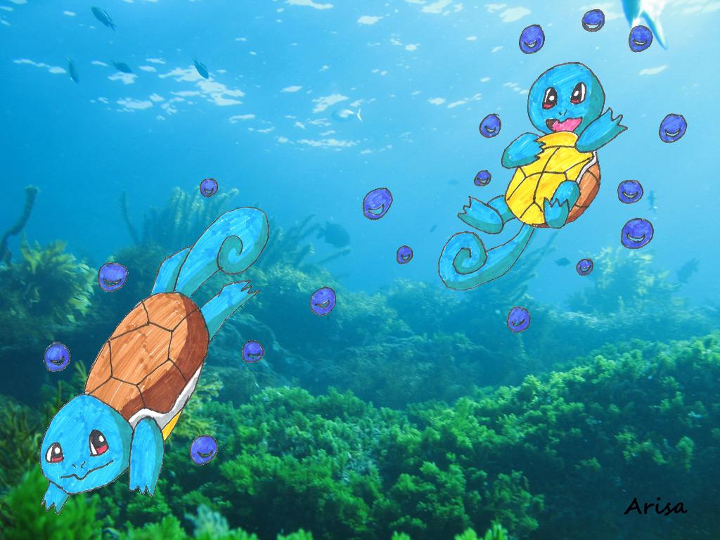 Pokémon-Zeichnung: Schiggy schwimmen im Wasser