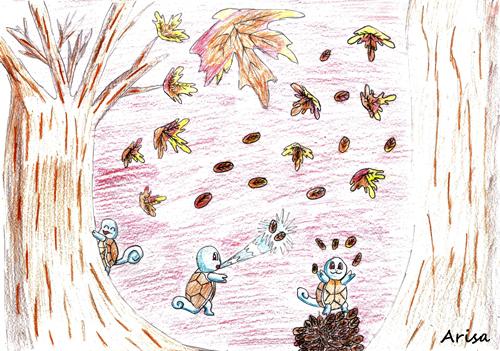 Pokémon-Zeichnung: Schiggy im Herbst