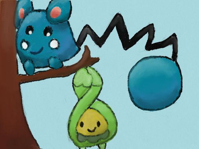 Pokémon-Zeichnung: Azurill & Knospi