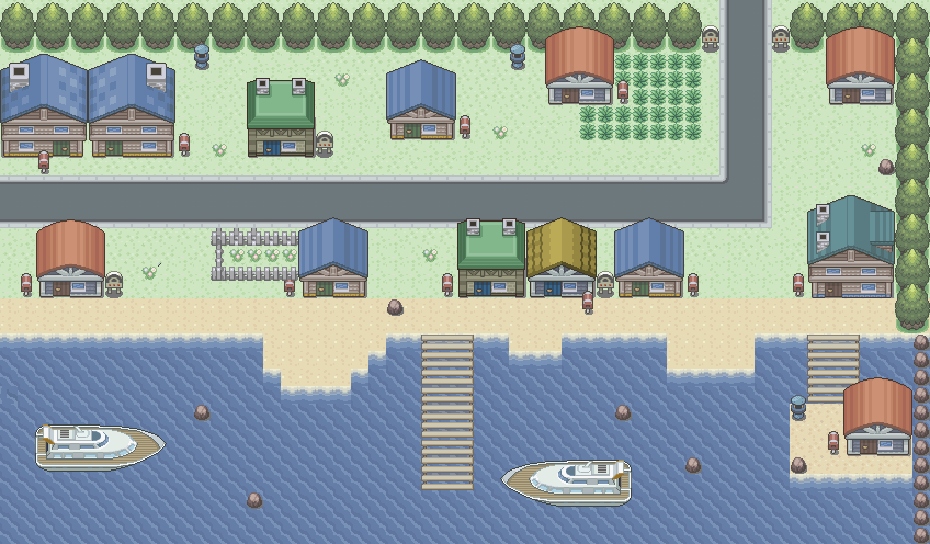 Pokémon-Map: Stadt am Meer