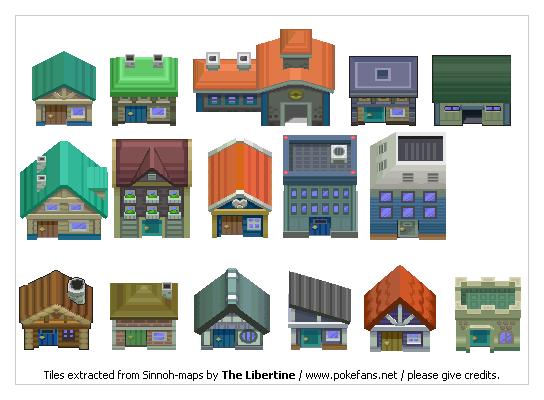 Pokémon-Tileset: DP Wohnhäuser