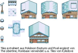Pokémon-Tileset: Schneebedeckte Häuser