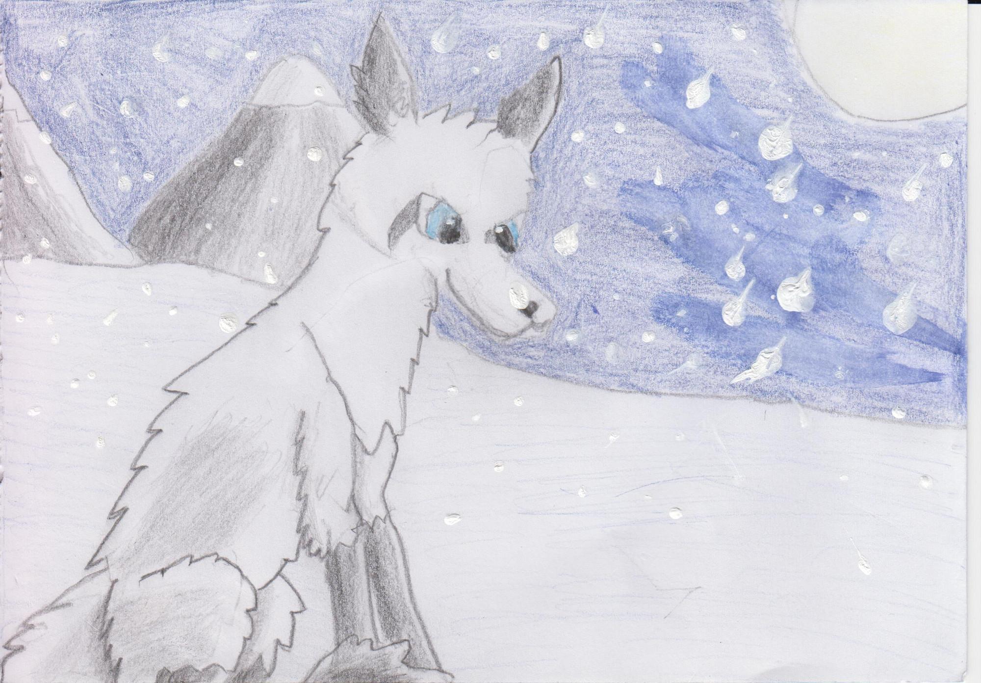 Pokémon-Zeichnung: Schneefüchschen
