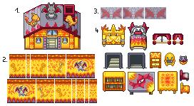 Pokémon-Tileset: Tileset - Salamanderausstattung - Gluma-Glutex-Glura-Style (Shinyversion)