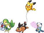 Pokémon-Pixelart: Startertrio-BW