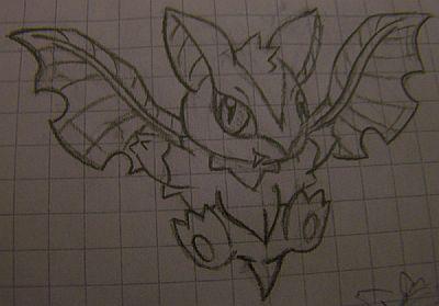 Pokémon-Zeichnung: Skizze zu Laubfledermaus
