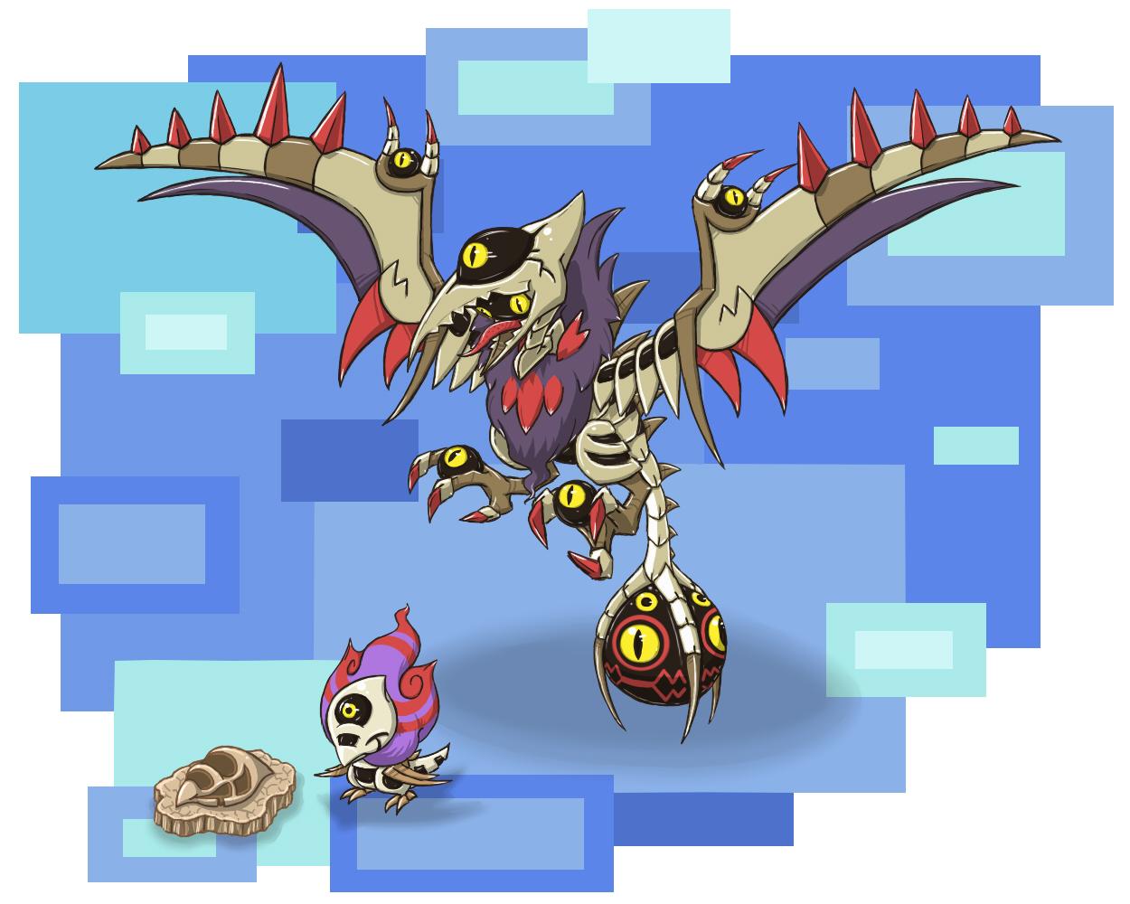 Pokémon-Zeichnung: Terrone + Pterordyez Fake-Fossilmon
