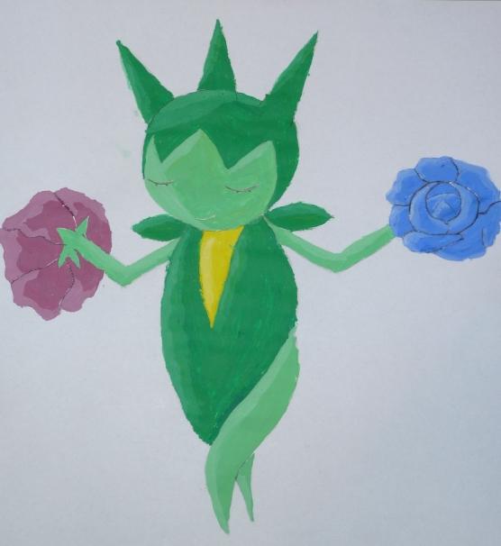 Pokémon-Zeichnung: Acryl-Roselia