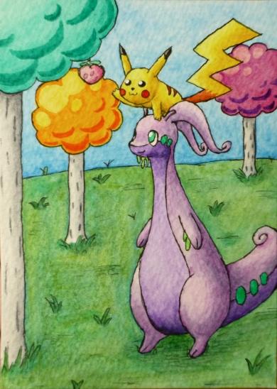 Pokémon-Zeichnung: Pikachu & Viscogon