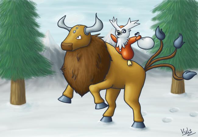 Pokémon-Zeichnung: Weihnachtlicher Ritt