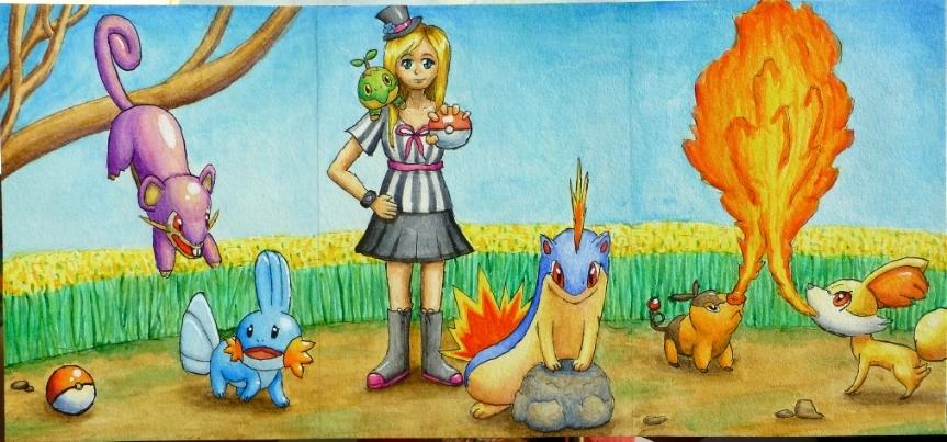 Pokémon-Zeichnung: Unentwickeltes Team