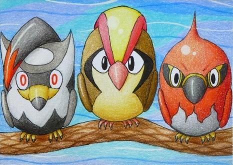 Pokémon-Zeichnung: Vögel auf der Stange