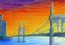 Himmelspfeilbrücke bei Dämmerung