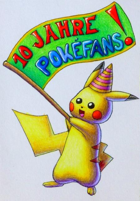 Pokémon-Zeichnung: Episches Fahnenpikachu