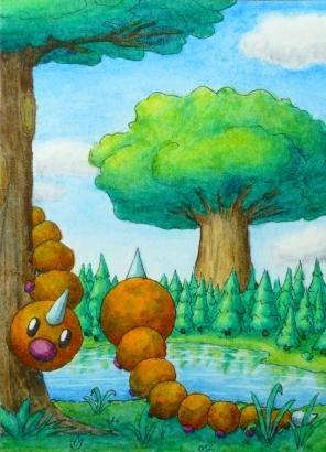 Pokémon-Zeichnung: Hornliu am See