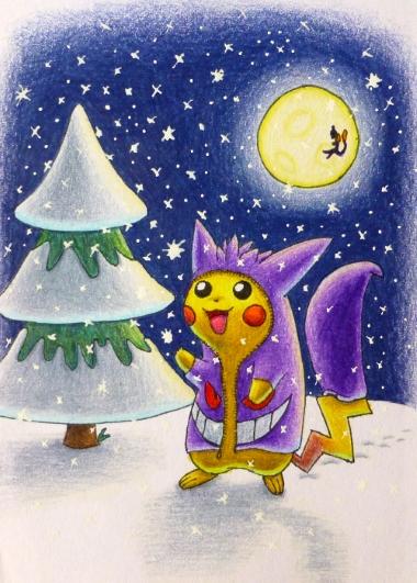 Pokémon-Zeichnung: Gengar-Pikachu