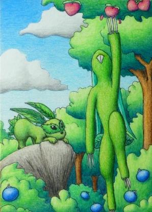 Pokémon-Zeichnung: Beeren sammeln