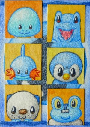Pokémon-Zeichnung: Chibi Wasser-Starter