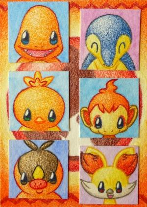 Pokémon-Zeichnung: Chibi Feuer-Starter