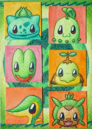 Pokémon-Zeichnung: Chibi Pflanze-Starter
