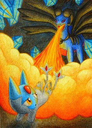Pokémon-Zeichnung: Pachibutz' Flucht