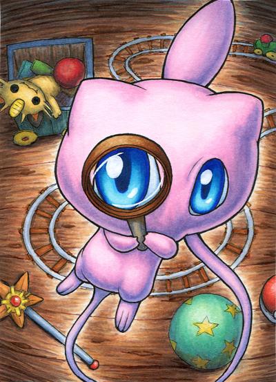 Pokémon-Zeichnung: Mew mit Lupe