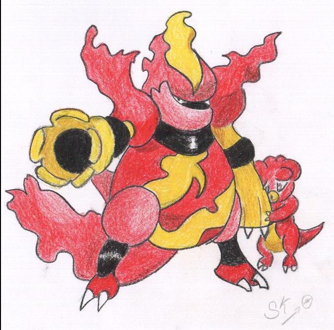 Pokémon-Zeichnung: Magbrant der Beschützer