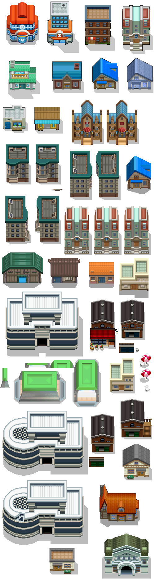 Pokémon-Tileset: BW Buildings