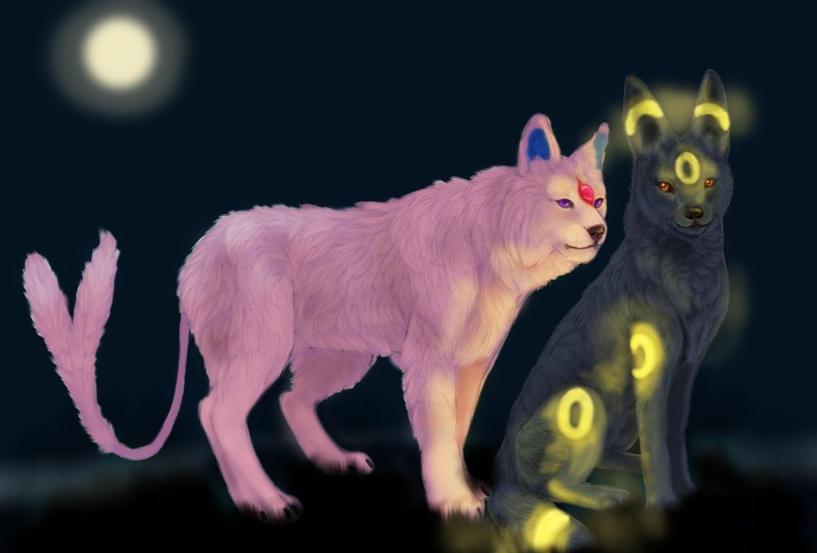 Pokémon-Zeichnung: Psiana u Nachtara