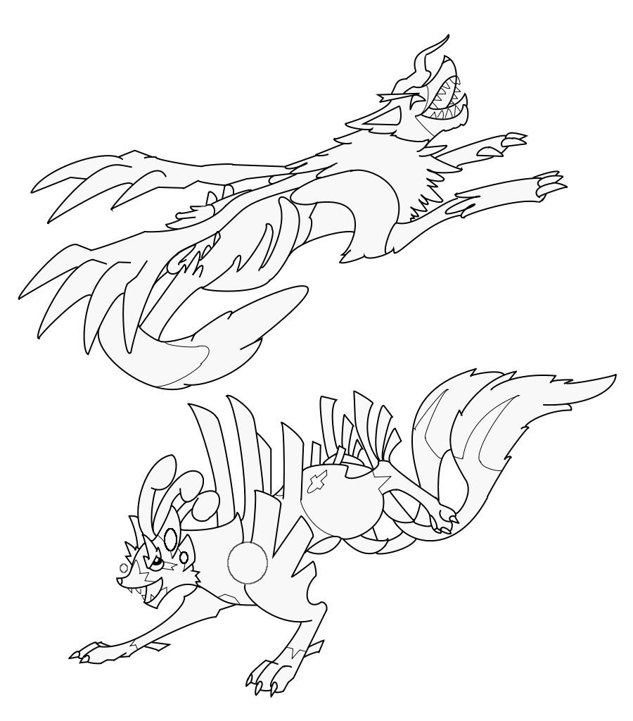 Pokémon-Zeichnung: Fake POkemon Kikane und Okumaii