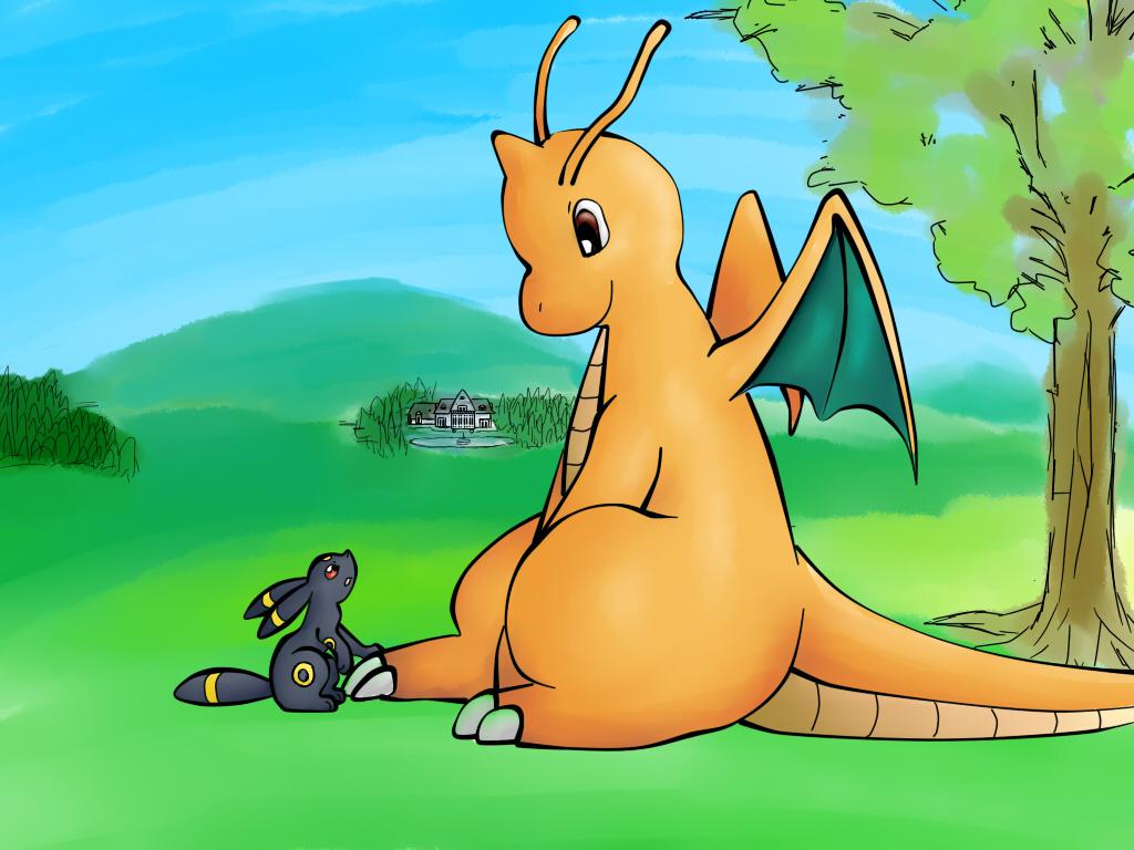 Pokémon-Zeichnung: dragoran und nachtara