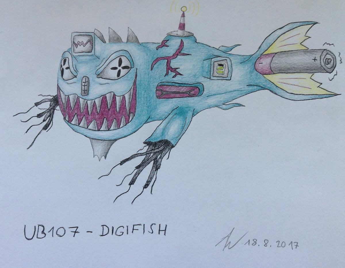 Pokémon-Zeichnung: UB 107 - Digifish