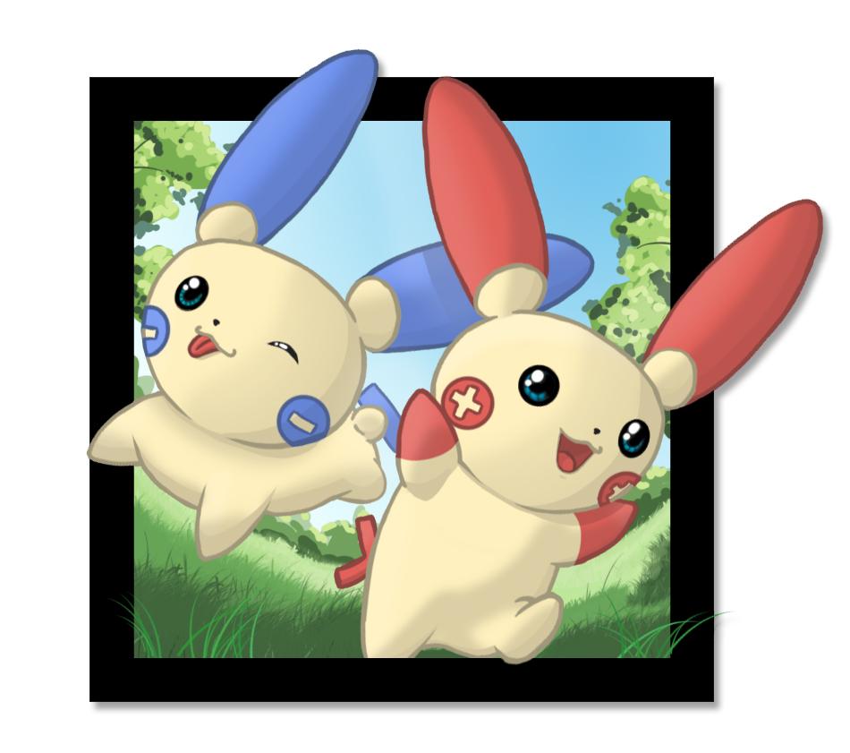 Pokémon-Zeichnung: Plusle und Minun