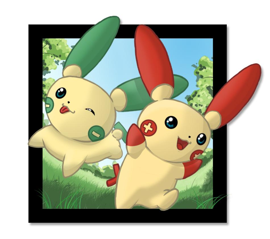 Pokémon-Zeichnung: Plusle und Minun shiny