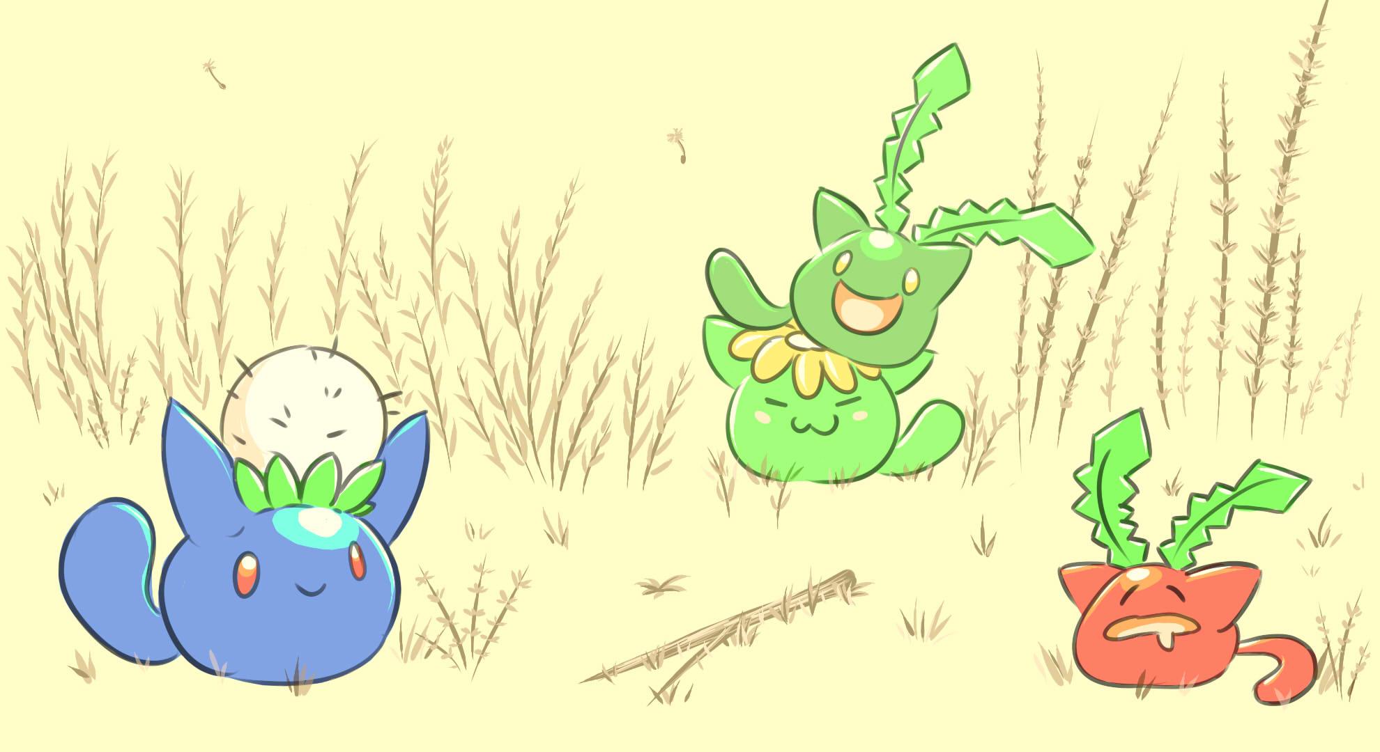 Pokémon-Zeichnung: Beta Hoppspross-Reihe x Slime Rancher