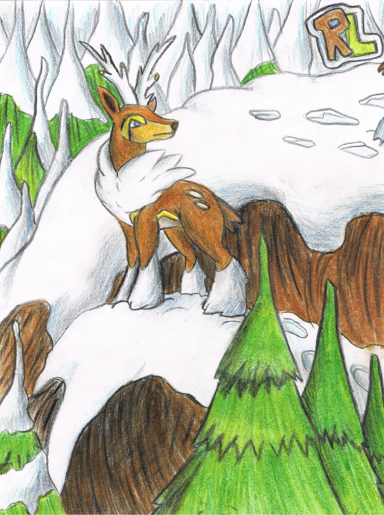 Pokémon-Zeichnung: Kronjuwild im Winter