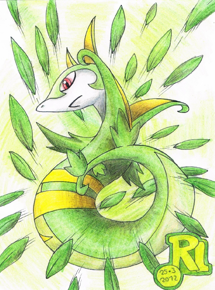 Pokémon-Zeichnung: Serpiroyal's Blättersturm