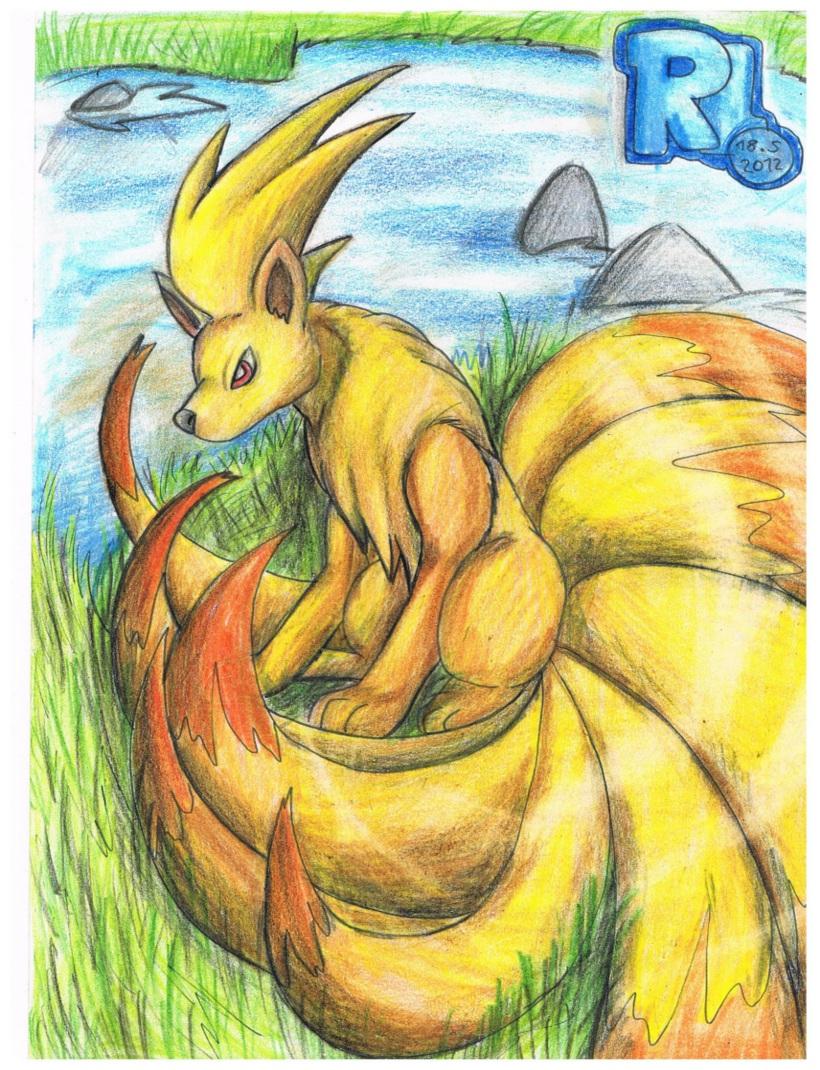 Pokémon-Zeichnung: Ein Vulnona am Fluss - Roxy