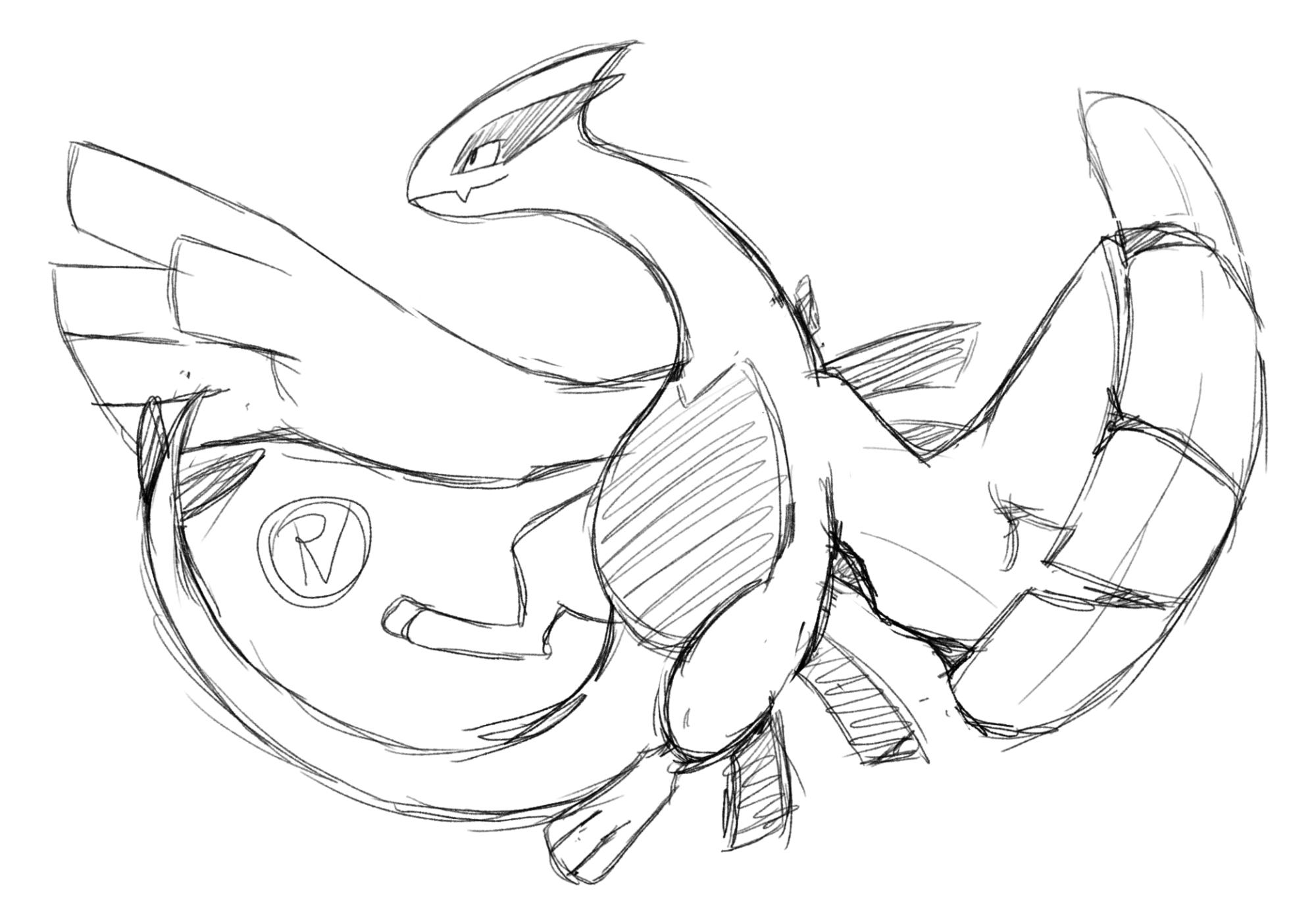 Pokémon-Zeichnung: Lugia Sketch