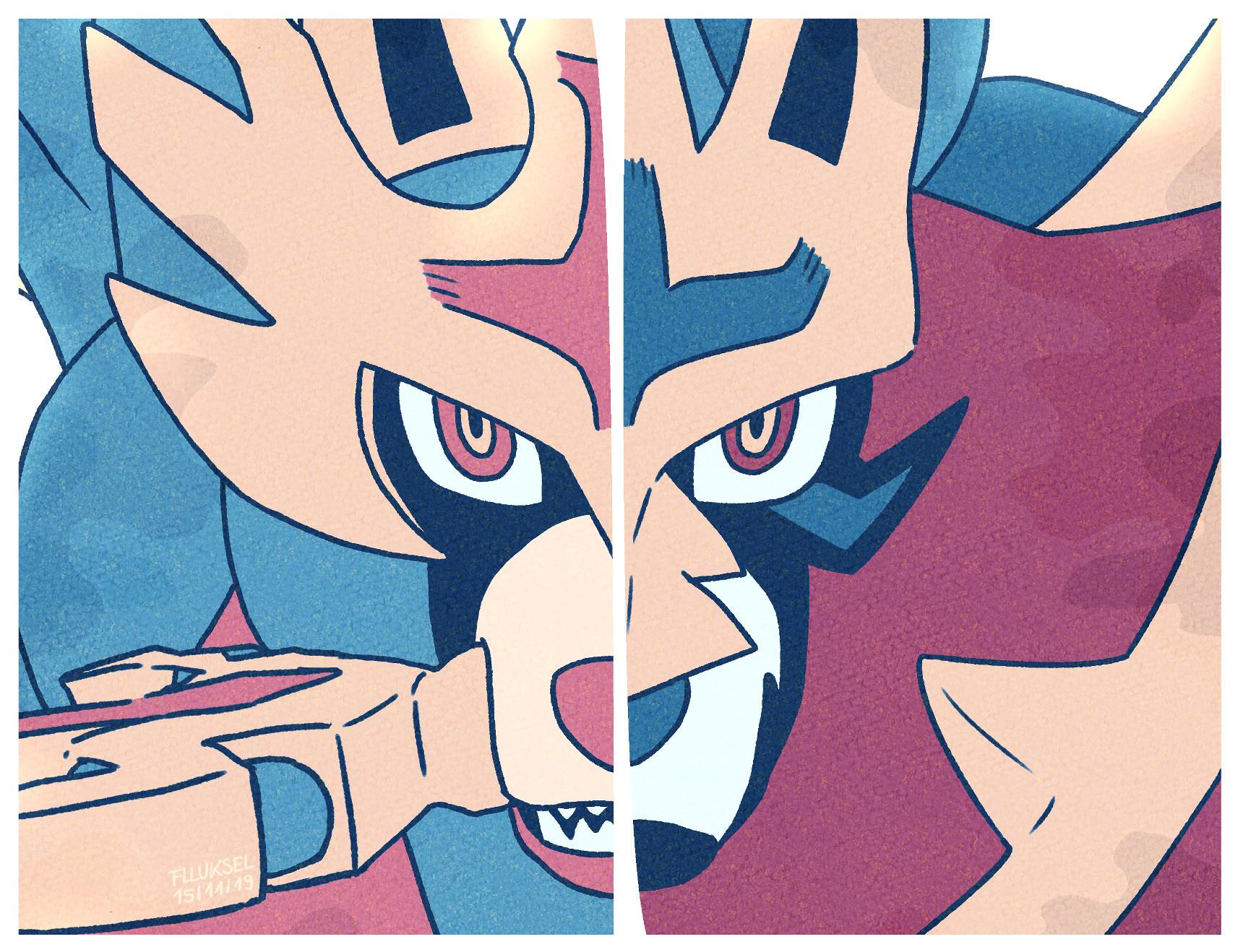 Pokémon-Zeichnung: Zacian & Zamazenta