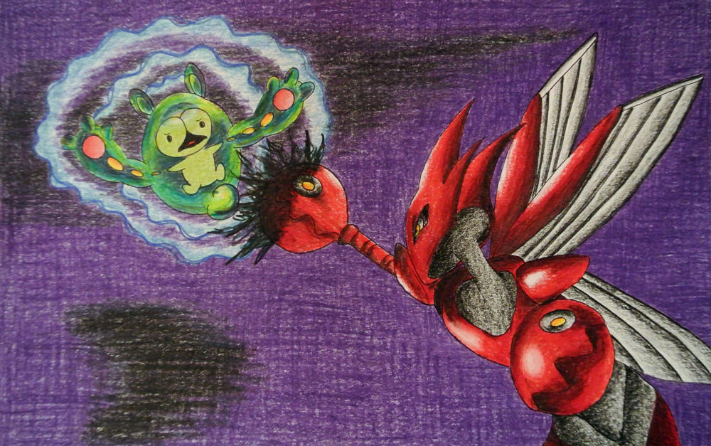 Pokémon-Zeichnung: Zytomega vs. Scherox